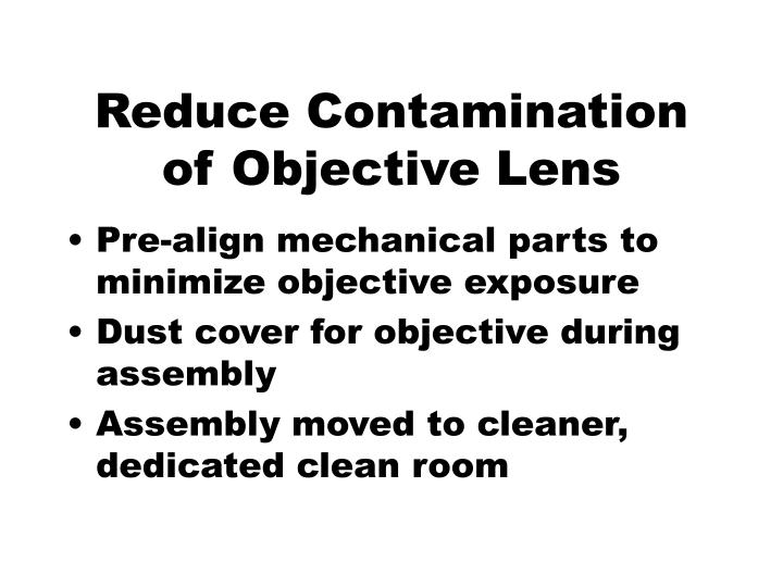 Reduce Contamination of Objective Lens