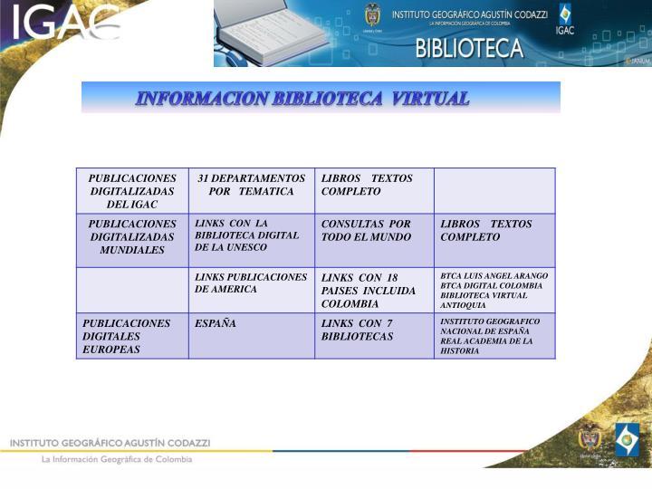 INFORMACION BIBLIOTECA  VIRTUAL
