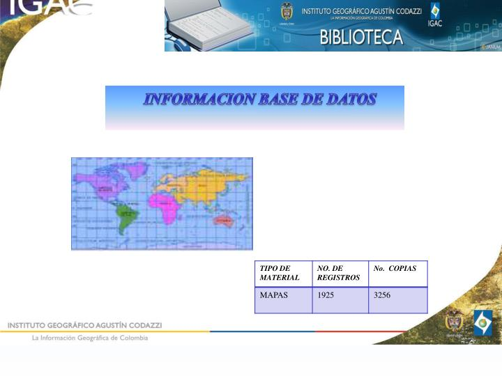 INFORMACION BASE DE DATOS