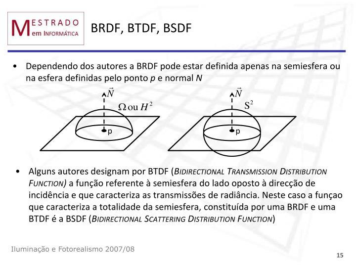 BRDF, BTDF, BSDF