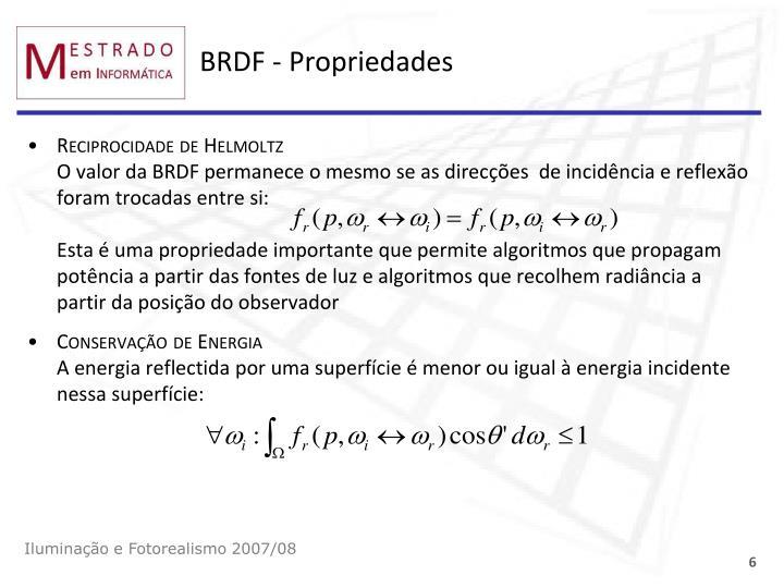 BRDF - Propriedades
