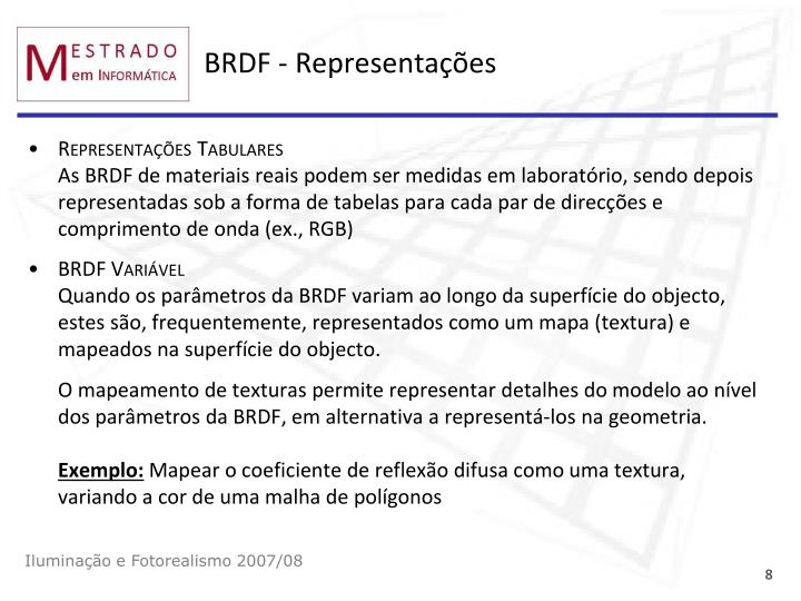 BRDF - Representações