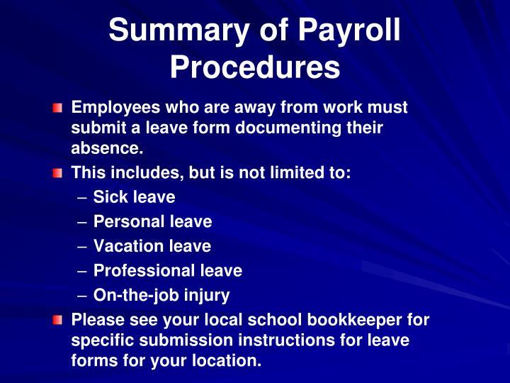 Summary of Payroll Procedures