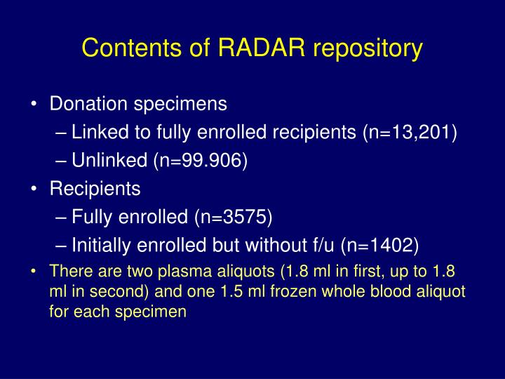 Contents of radar repository
