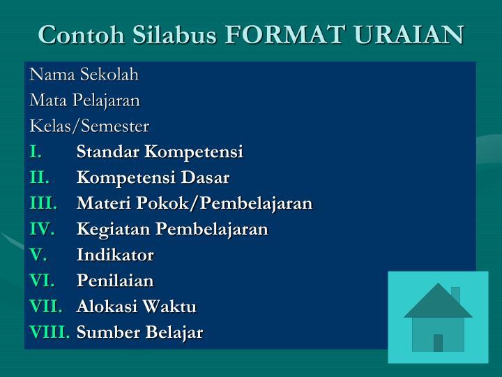 Contoh Silabus FORMAT URAIAN