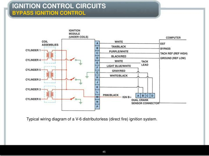 Typical wiring diagram of a V-6 distributorless (direct fire) ignition system.
