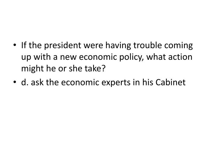 If the president were having trouble coming up with a new economic policy, what action might he or she take?