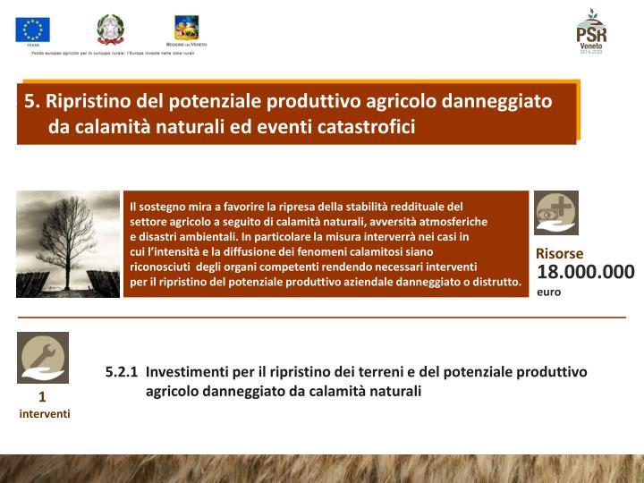 5. Ripristino del potenziale produttivo agricolo danneggiato