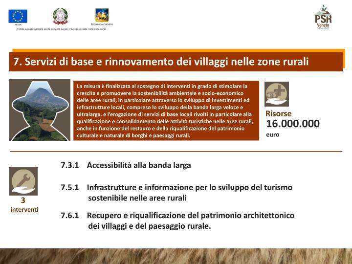 7. Servizi di base e rinnovamento dei villaggi nelle zone rurali