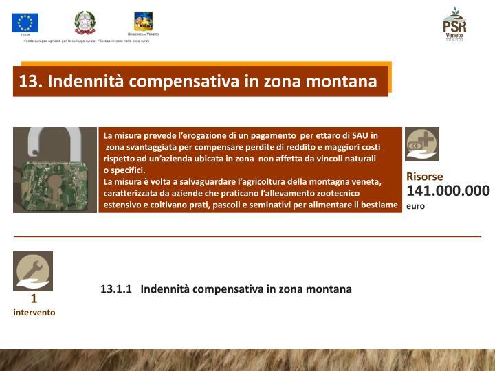 13. Indennità compensativa in zona montana