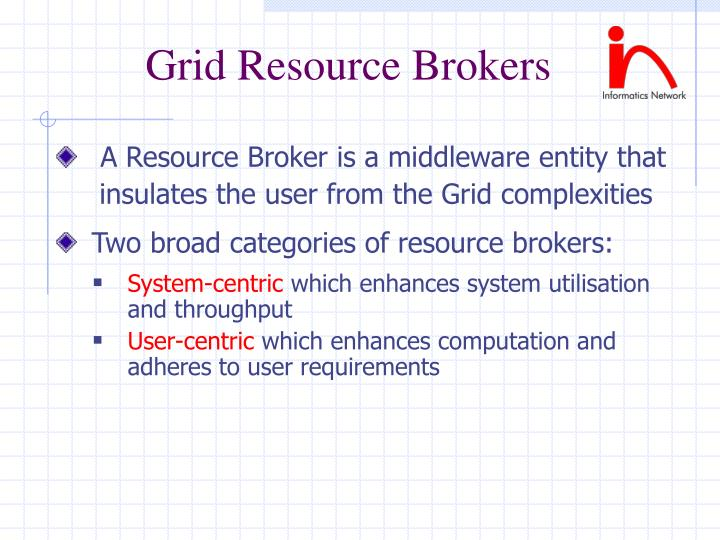Grid Resource Brokers
