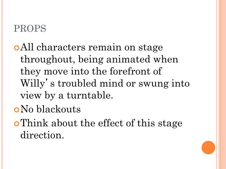 death of a salesman stage effects