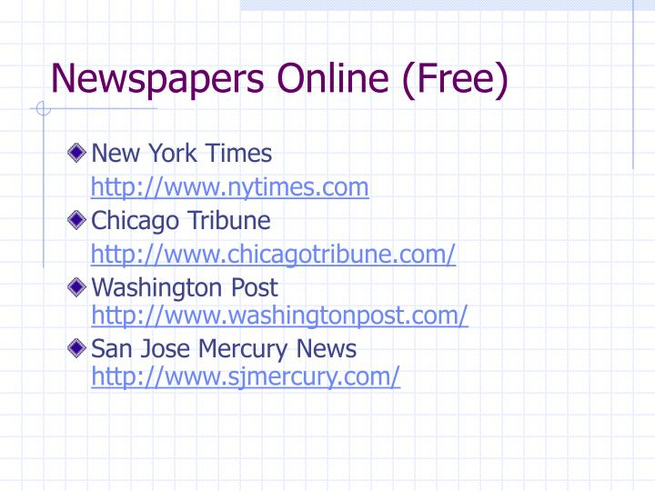 Newspapers Online (Free)