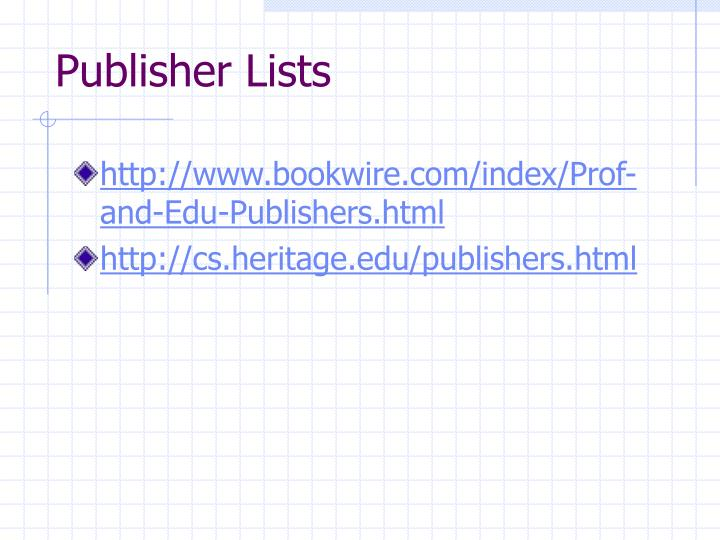 Publisher Lists