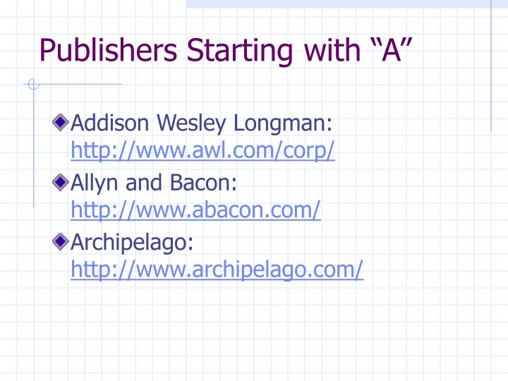 "Publishers Starting with ""A"""