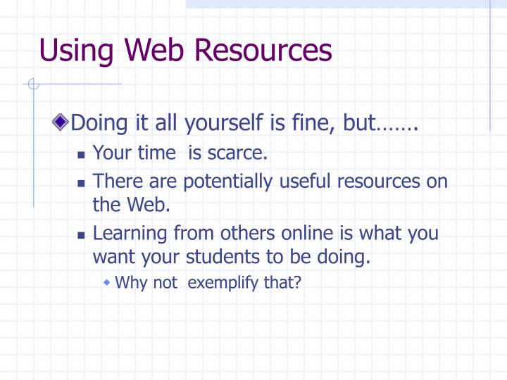 Using Web Resources