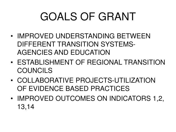 GOALS OF GRANT