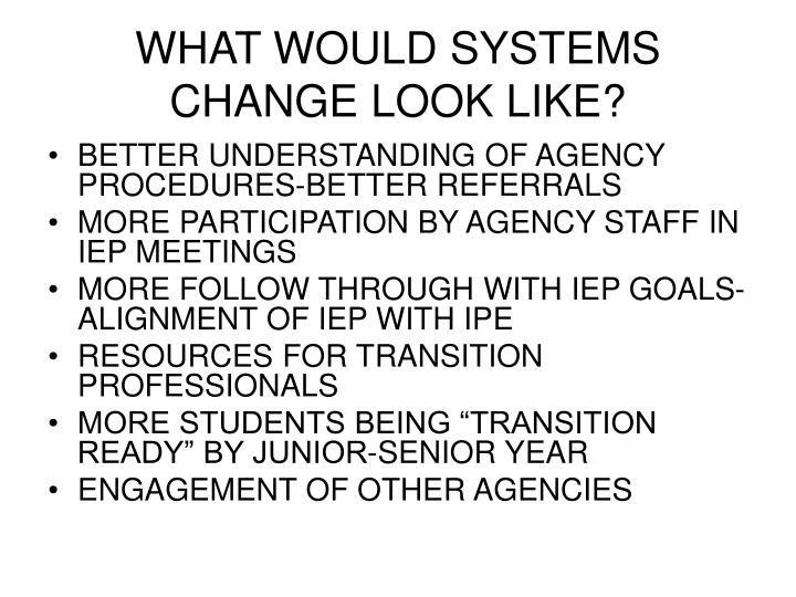 WHAT WOULD SYSTEMS CHANGE LOOK LIKE?