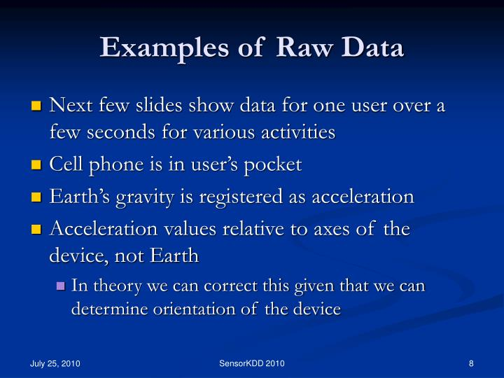 Examples of Raw Data