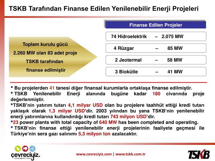 TSKB Tarafından Finanse Edilen Yenilenebilir Enerji Projeleri