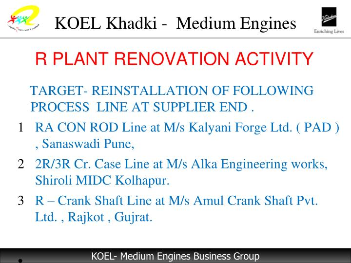 R PLANT RENOVATION ACTIVITY