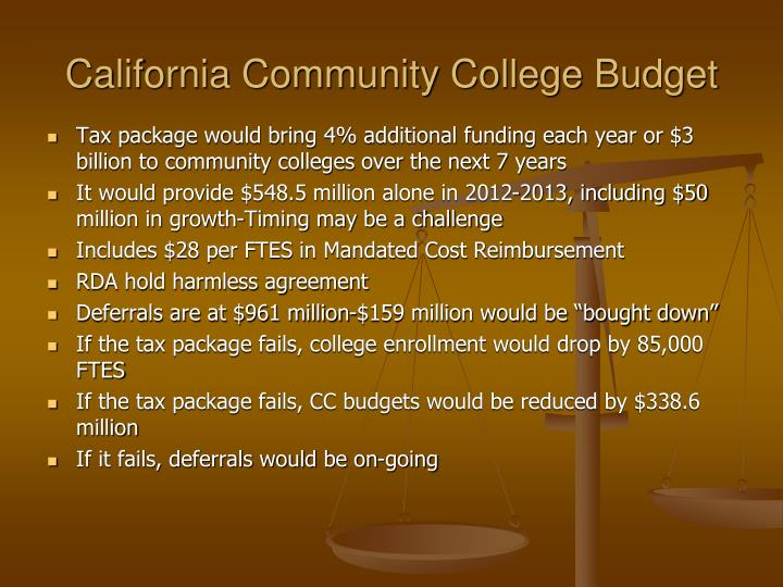 California community college budget