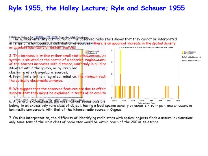 Ryle 1955, the Halley Lecture; Ryle and Scheuer 1955