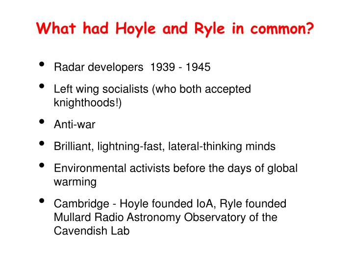 What had Hoyle and Ryle in common?