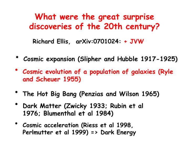 What were the great surprise discoveries of the 20th century?