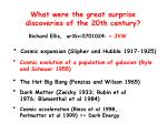 what were the great surprise discoveries of the 20th century1