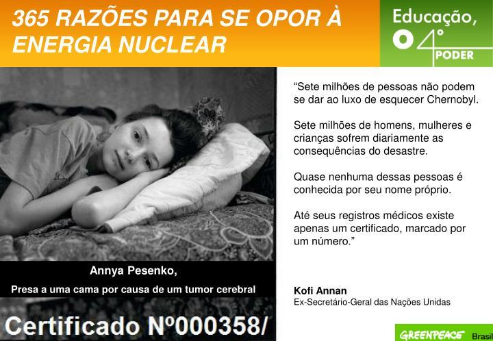 365 RAZÕES PARA SE OPOR À ENERGIA NUCLEAR