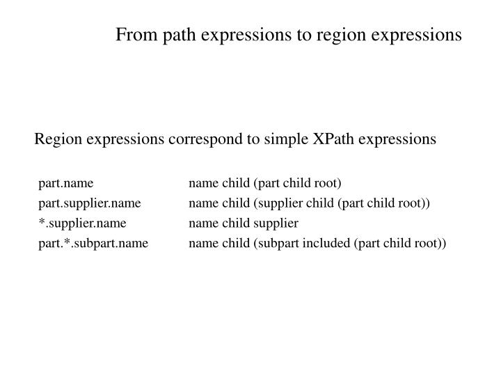 From path expressions to region expressions