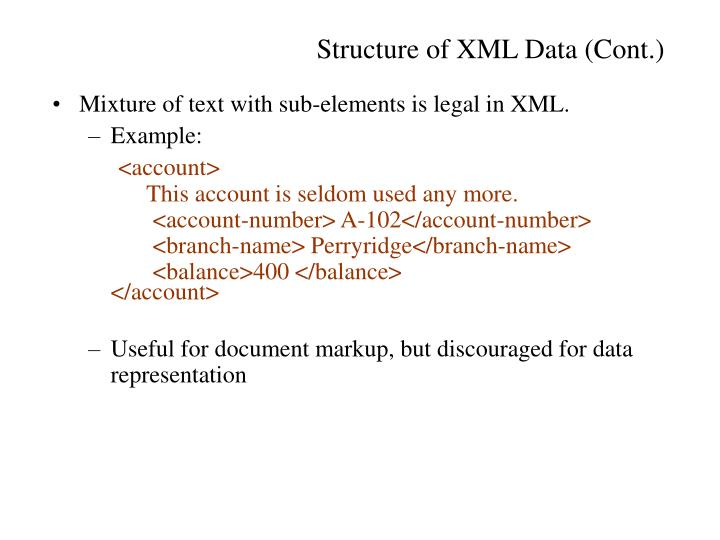 Mixture of text with sub-elements is legal in XML.
