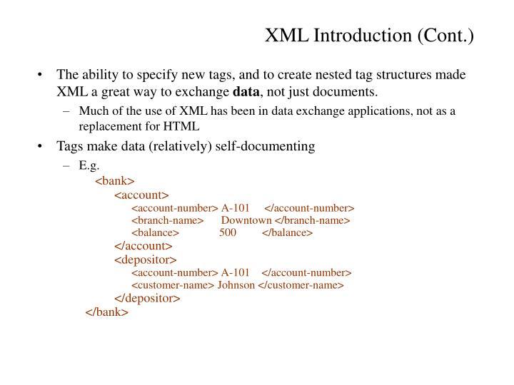 XML Introduction (Cont.)