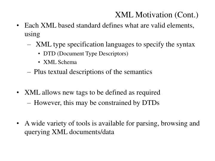 XML Motivation (Cont.)