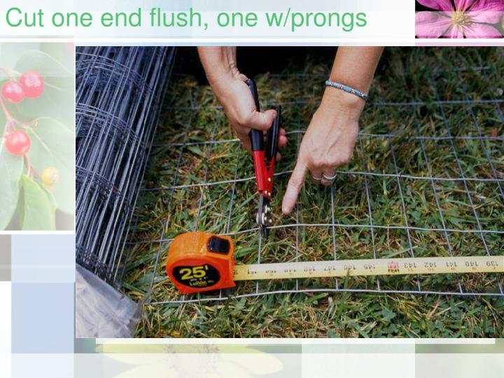 Cut one end flush, one w/prongs