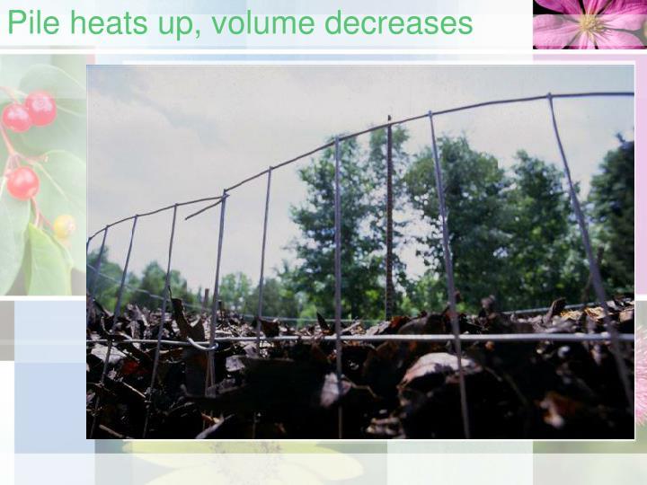 Pile heats up, volume decreases