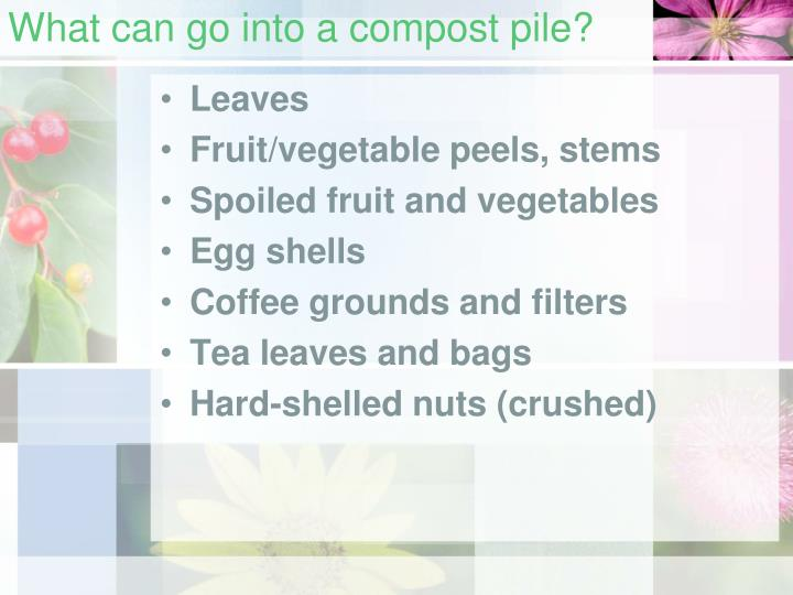 What can go into a compost pile?