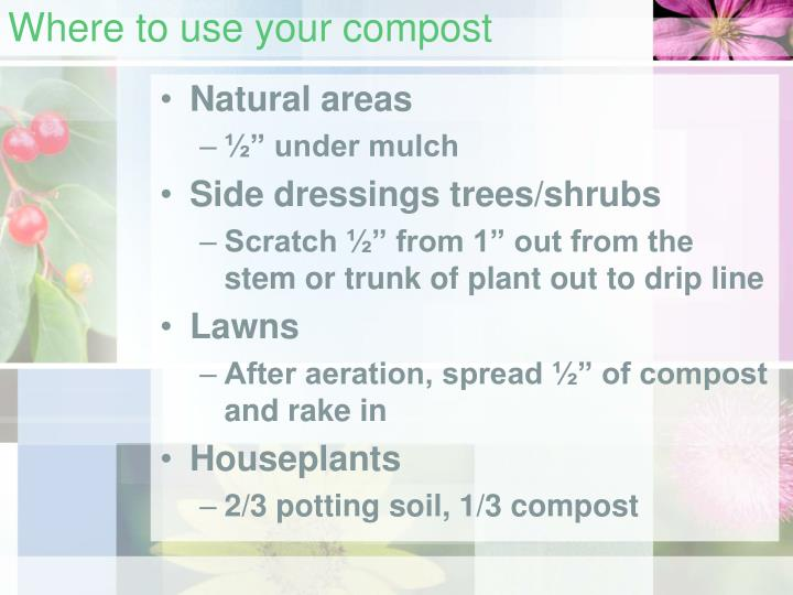 Where to use your compost