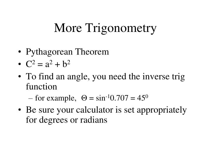 More Trigonometry