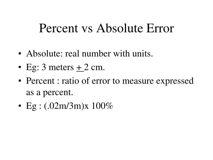 Percent vs Absolute Error