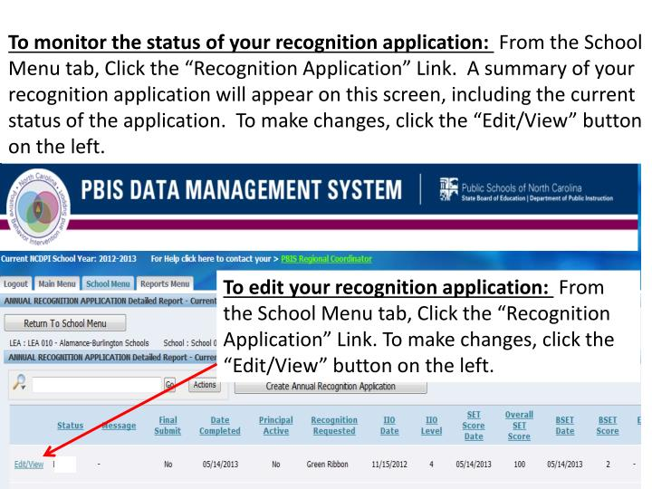 To monitor the status of your recognition application: