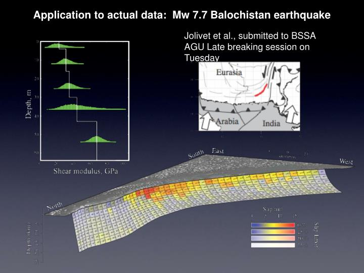 Application to actual data:  Mw 7.7 Balochistan earthquake
