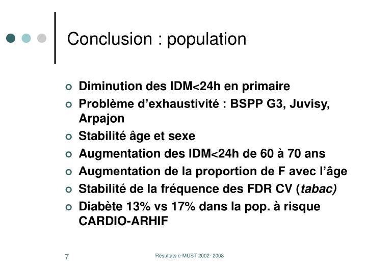 Conclusion : population