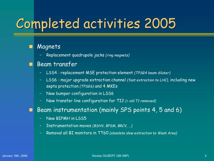 Completed activities 2005
