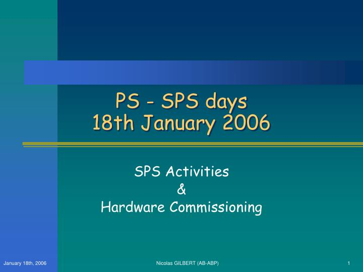 Ps sps days 18th january 2006