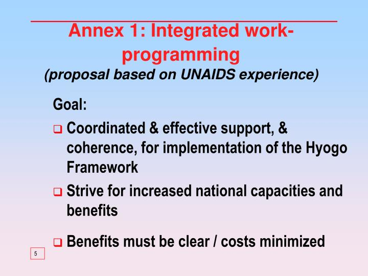 Annex 1: Integrated work-programming
