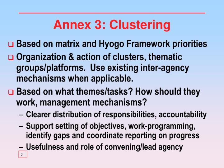 Annex 3: Clustering