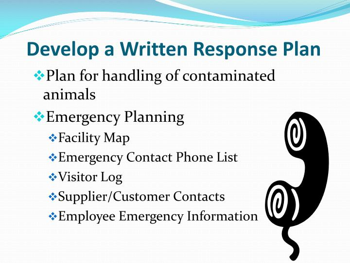 Develop a Written Response Plan