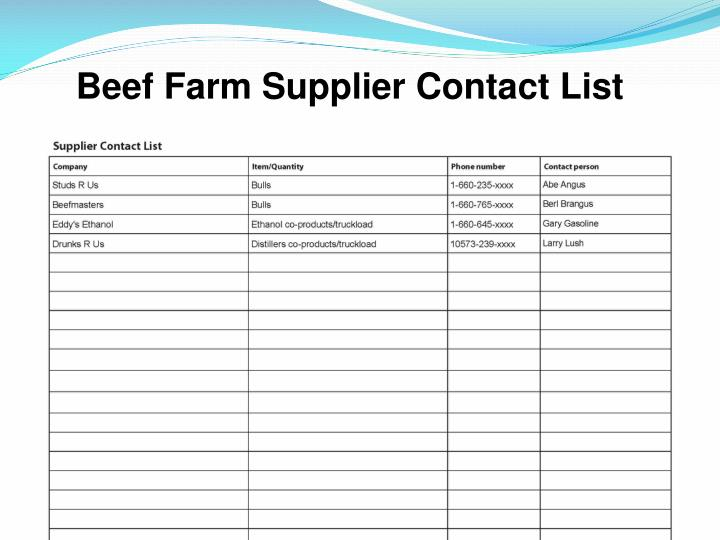 Beef Farm Supplier Contact List